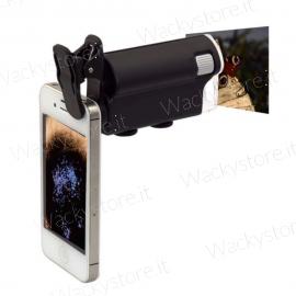 Microscopio per smartphone e tablet 60X - 100X - Con led e messe a fuoco