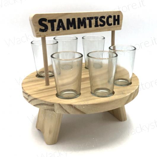 Alzatina porta cicchetti - Con sei bicchierini in vetro inclusi