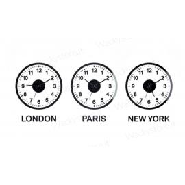 Orologio  world clock - Formato gigante - Con adesivo da parete e tre meccanismi