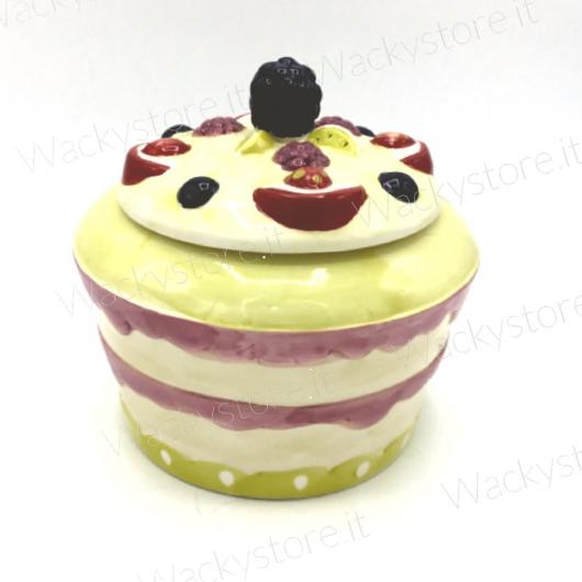 Biscottiera porta bon bon a forma di torta - Realizzata in ceramica