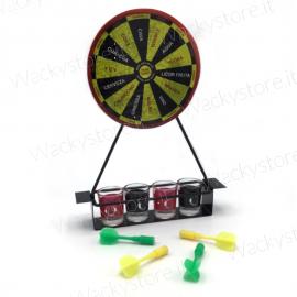 Gioco tiro a segno alcolico - Confezione con quattro bicchierini e freccette magnetiche
