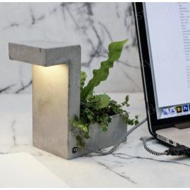 Vaso lampada USB - Realizzato in cemento
