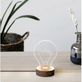 Lampada idea - Realizzata in plexiglas e legno - Funzione USB