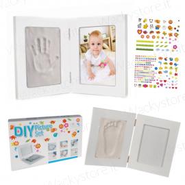 Kit portafoto In legno per impronta - Con adesivi per personalizzarlo
