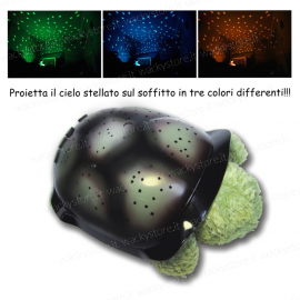 Lampada tartaruga planetario - Con proiezione del cielo stellato in tre colori